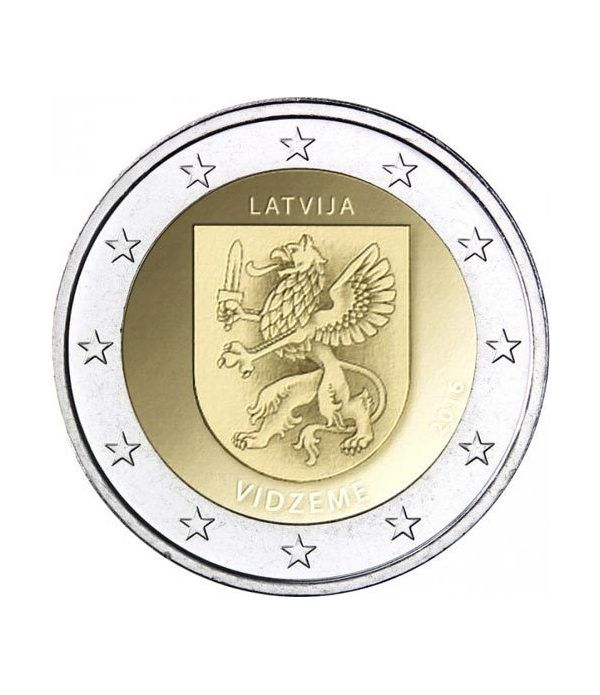 moneda conmemorativa 2 euros Letonia 2016 Vidzeme.  - 2