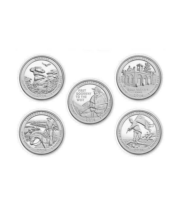 E.E.U.U. 1/4$ 2016 Parques Nacionales (5 monedas) ceca D.  - 2