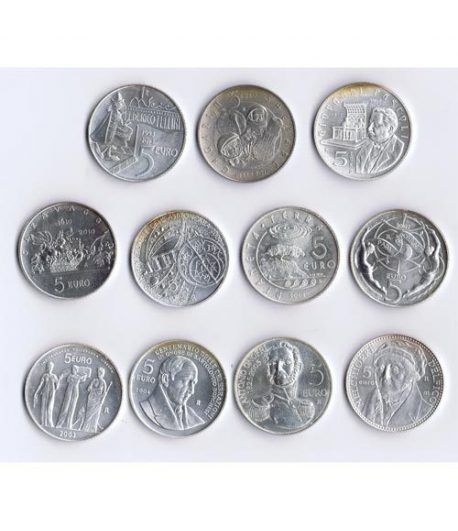 Monedas de plata 5 euros San Marino 2003/2013. 11 monedas  - 1