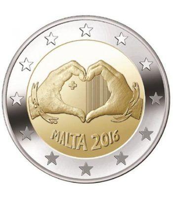 moneda conmemorativa 2 euros Malta 2016 Solidaridad Amor.  - 2