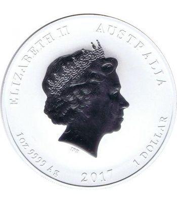 Moneda onza de plata 1$ Australia Lunar Gallo 2017  - 4
