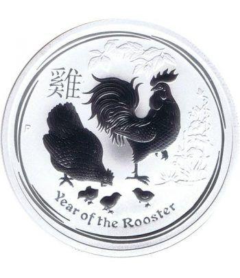 Moneda onza de plata 1$ Australia Lunar Gallo 2017  - 1