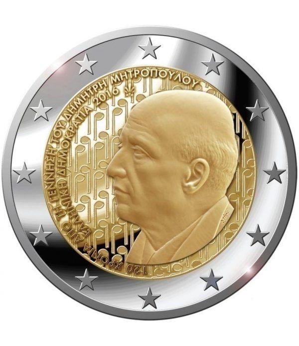 moneda conmemorativa 2 euros Grecia 2016 Mitropoulos.  - 2