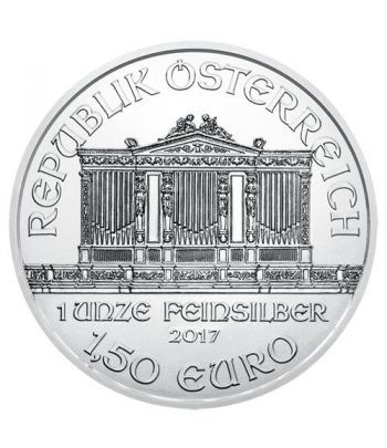 Moneda onza de plata 1,5 euros Austria Filarmonica 2017  - 1