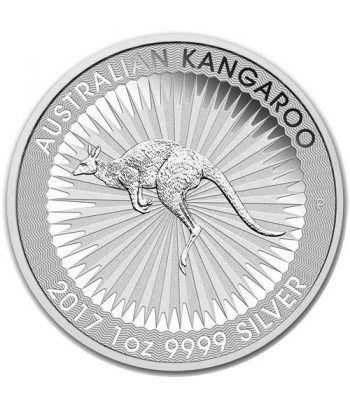 Moneda onza de plata 1$ Australia Canguro 2017  - 1