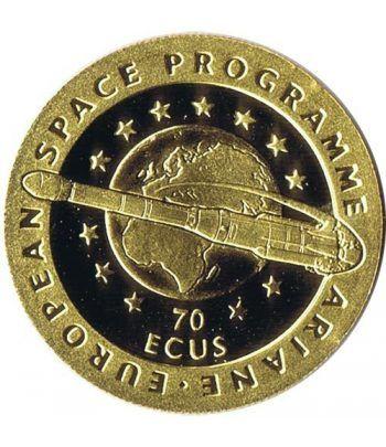 Moneda de oro 70 Ecus Gibraltar 1993 Programa espacial Ariane.  - 1