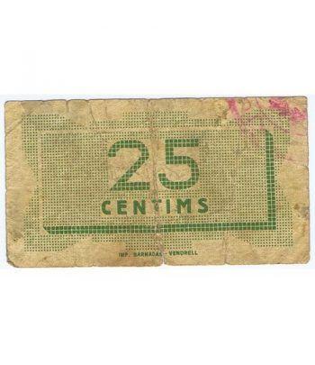 (1937) 25 centims Ajuntament d' El Vendrell. Mayo 1937  - 2