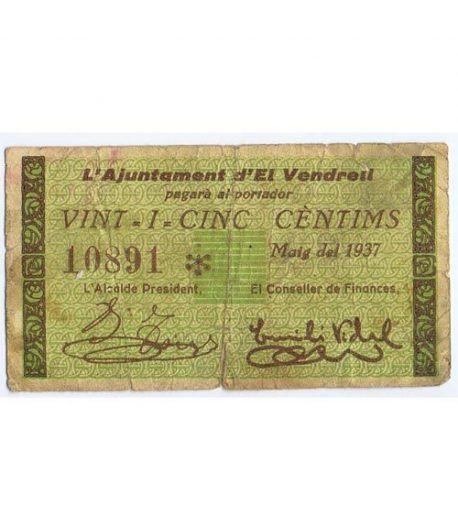 (1937) 25 centims Ajuntament d' El Vendrell. Mayo 1937  - 1