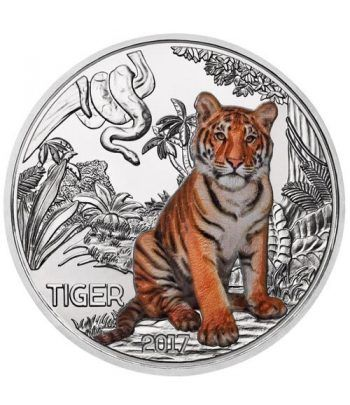 moneda Austria 3 Euros 2017 Tigre color Tiger Tier-Taler.  - 1