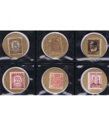 Sello moneda en cartón. Colección de 6.  - 1