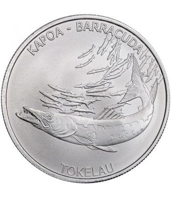 Moneda onza de plata 5$ Tokelau. Barracuda 2017.  - 1