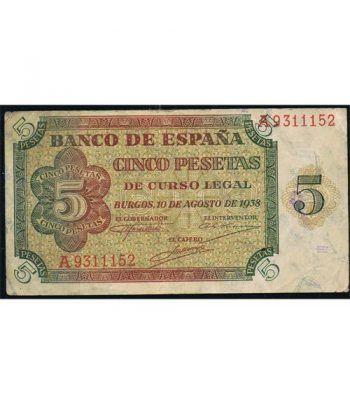 (1938/08/10) Burgos. 5 Pesetas. MBC+.  - 1