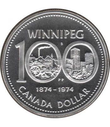 Canada 1$ 1974 100 Aniversario Winnipeg 1874-1974 Plata.  - 1