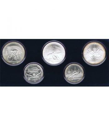 Monedas de plata 5 y 10 rublos Rusia 1978 Moscu 1980. 5 monedas  - 1