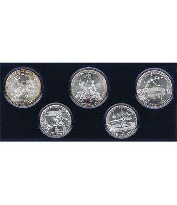 Monedas de plata 5 y 10 rublos Rusia 1978-79 Moscu 1980. 5 moned  - 1
