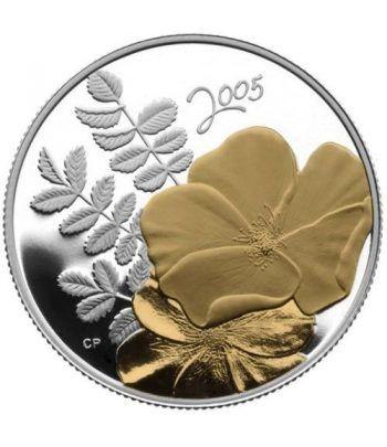 Moneda de plata 50 Centavos Canada 2005 Flor Rosa Dorada.  - 2