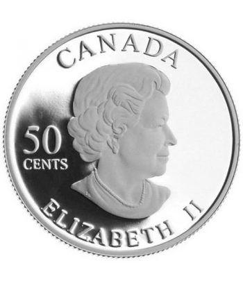 Moneda de plata 50 Centavos Canada 2005 Flor Rosa Dorada.  - 4