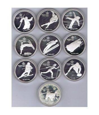 Monedas de plata Canada 20 Dollars Calgary 1988. 10 monedas.  - 2