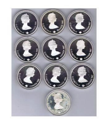 Monedas de plata Canada 20 Dollars Calgary 1988. 10 monedas.  - 4