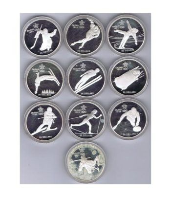 Monedas de plata Canada 20 Dollars Calgary 1988. 10 monedas.  - 1