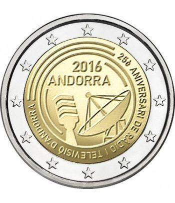 moneda conmemorativa 2 euros Andorra 2016 Radio y Televisión. BU  - 1
