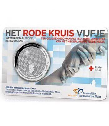 Holanda 5 Euros 2017 150 Años Cruz Roja.  - 1