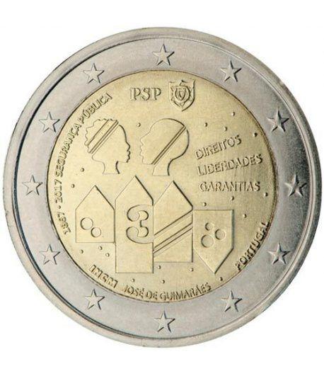 moneda conmemorativa 2 euros Portugal 2017 Policia.  - 2