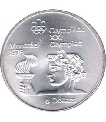 Moneda de plata 5$ Canada 1974 Montreal 1976. Antorcha.  - 2