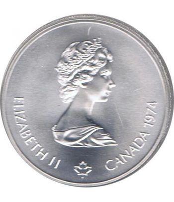 Moneda de plata 5$ Canada 1974 Montreal 1976. Antorcha.  - 4