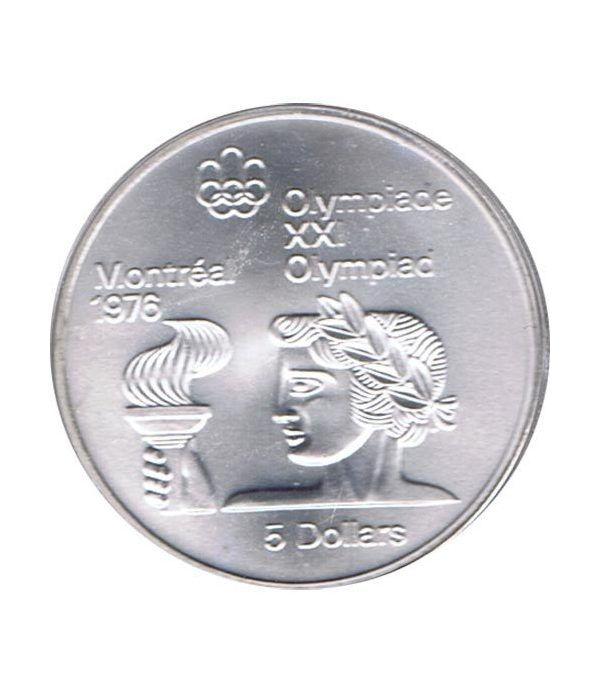Moneda de plata 5$ Canada 1974 Montreal 1976. Antorcha.  - 1