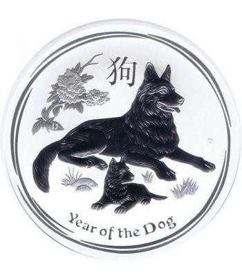 Moneda onza de plata 1$ Australia Lunar perro 2018.  - 2