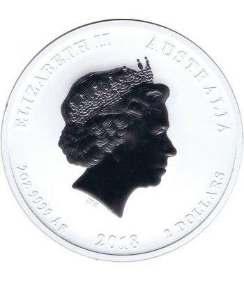 Moneda 2 onzas de plata 2$ Australia Año Lunar perro 2018.  - 2