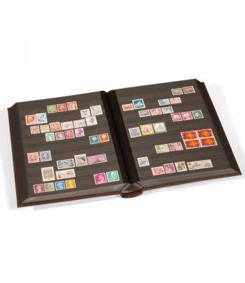 LEUCHTTURM Clasificador LEDER Cuero 32 hojas negras. Clasificadores sellos - 6