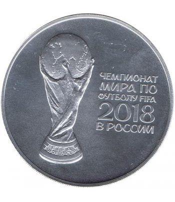 Moneda onza de plata 3 Rublos Rusia 2018 Copa Mundial Futbol.  - 1