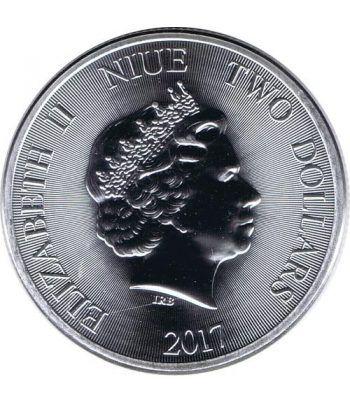 Moneda onza de plata 2$ Niue Panda Chino 2017.  - 3