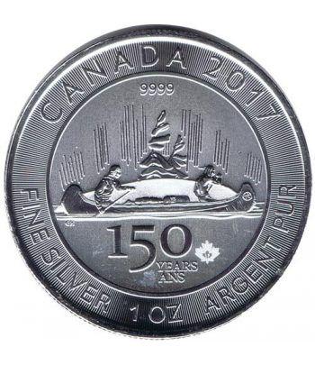 Moneda onza de plata 5$ Canada 150 Aniversario Canoa 2017  - 1