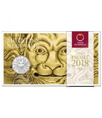 moneda Austria 5 Euros 2018 Año Nuevo. León. Plata.  - 1