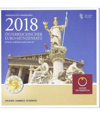Cartera oficial euroset Austria 2018 incluye 2€ Centenario.  - 1