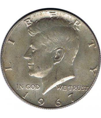 Moneda de plata de Estados Unidos 1/2 $ Kennedy Año 1967.  - 1