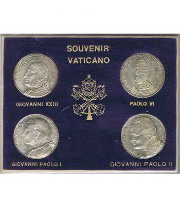 Medallas 4 Papas Souvenir Vaticano en estuche.  - 1