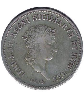Moneda de plata 120 Grana Italia 1818 Estado de Sicilia Nápoles.  - 1