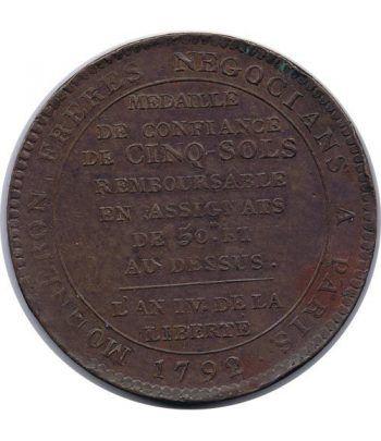 Medalla de confianza 5 Sols. Francia 1792. Bronce.  - 2
