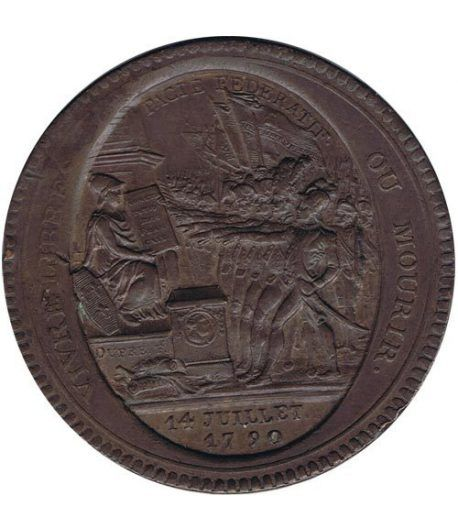 Medalla de confianza 5 Sols. Francia 1792. Bronce.  - 1