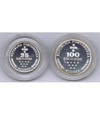Monedas de plata 100 y 25 Escudos Azores Portugal 1980.  - 2