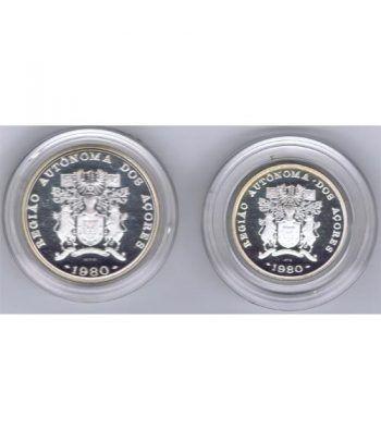 Monedas de plata 100 y 25 Escudos Azores Portugal 1980.  - 4