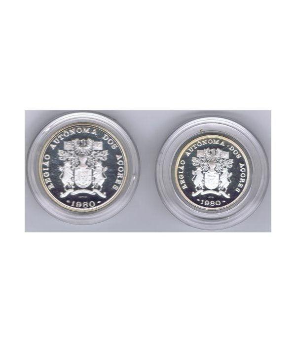 Monedas de plata 100 y 25 Escudos Azores Portugal 1980.  - 1
