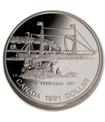 Moneda de plata 1 Dollar Canada 1991 Barco Frontenac. Proof.  - 1