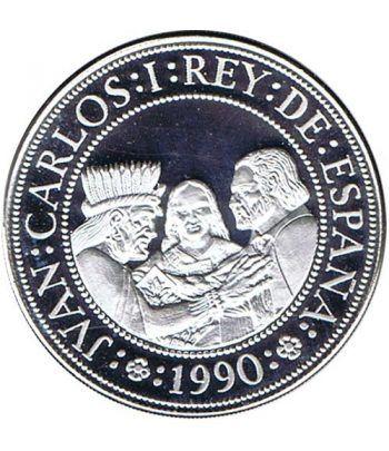 5000 Pesetas 1990 Vº Centenario. Cortés y Montezuma Plata Proof  - 1