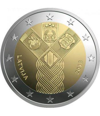 moneda conmemorativa 2 euros Letonia 2018 Conjunta Bálticos.  - 2