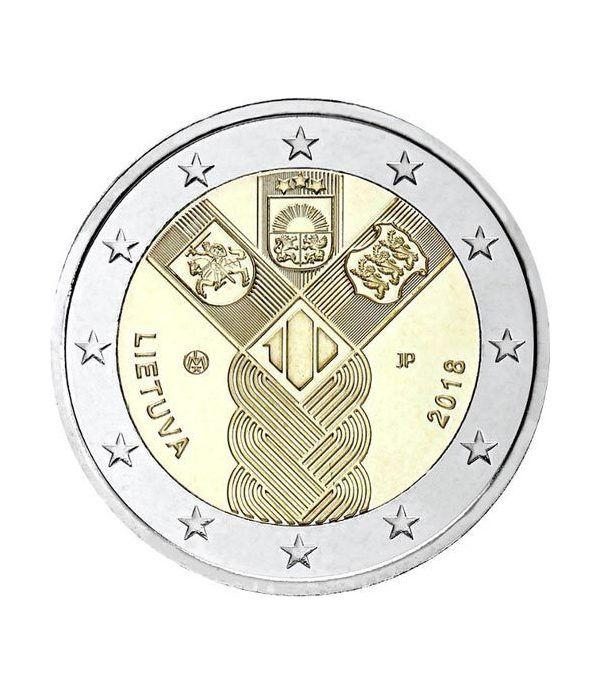 moneda conmemorativa 2 euros Lituania 2018 Conjunta Bálticos.  - 2